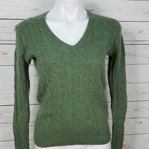Polo Ralph Lauren Green V-Neck Wool Sweater Medium